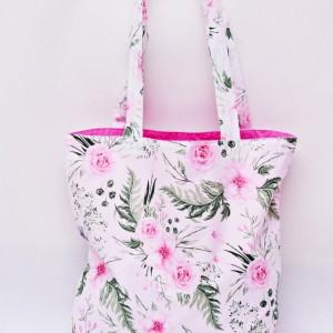 Torba na zakupy, torba shopperka, torba szoperka, eko siatka na zakupy dzikie kwiaty in garden róż