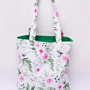 Torba na zakupy, torba shopperka, torba szoperka, eko siatka na zakupy dzikie kwiaty in garden zielona