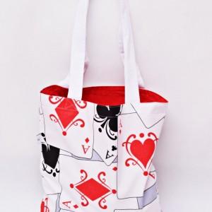 Torba na zakupy, torba shopperka, torba szoperka, eko siatka na zakupy wzór karty do gry, poker