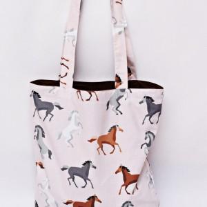 Torba na zakupy, torba shopperka, torba szoperka, eko siatka na zakupy konie czarne