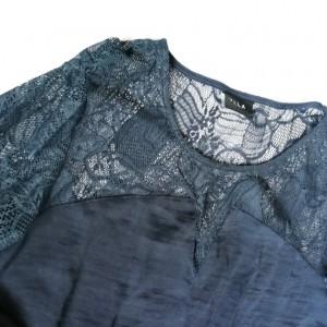 bluzka tunika granatowa z koronką elegancka M firma vila
