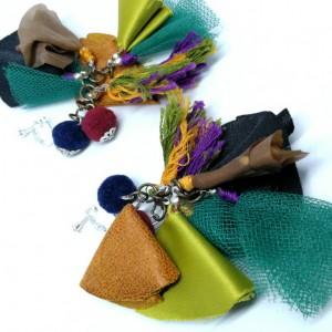 klipsy lekkie etno folkowe pompony handmade