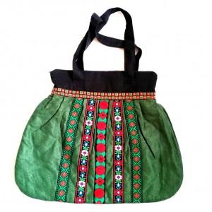 torebka damska retro zielona handmade