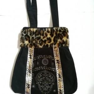 torebka damska retro pantera handmade
