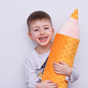 Kredka minky, poduszka dla dziecka, zagłówek dla dziecka, miękka kredka, duża kredka pomarańczowa