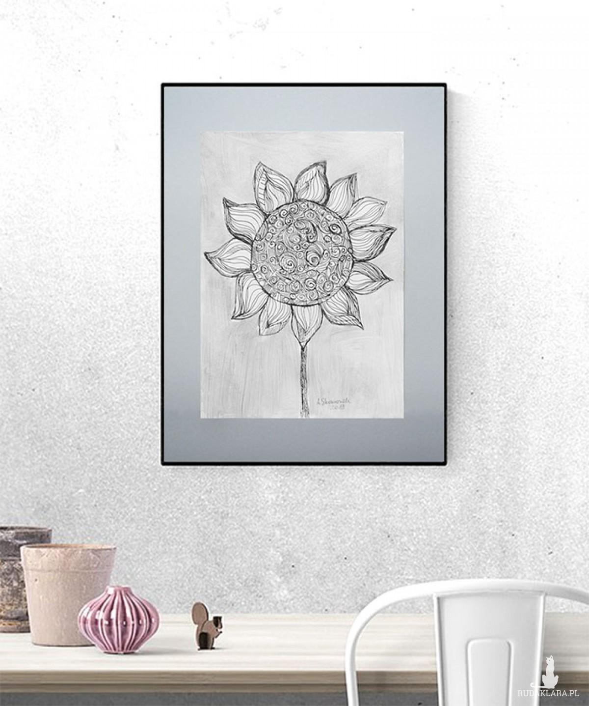Czarno biały obraz, grafika minimalizm, biało czarny rysunek słonecznik