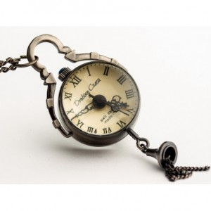 DROBINA CZASU (BLACK) - zegarek wisiorek na łańcuszku