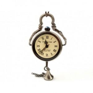 DROBINA CZASU (BLACK) FLAT - zegarek wisiorek na łańcuszku