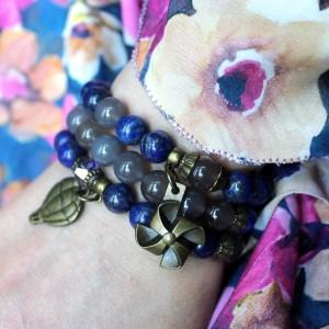Komplet bransoletek z lapis lazuli i agatów