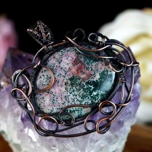 Kamień krwisty, Heliotrop, Miedziany wisior z kamieniem krwistym, ręcznie wykonany, prezent dla niej, prezent dla mamy, prezent urodzinowy