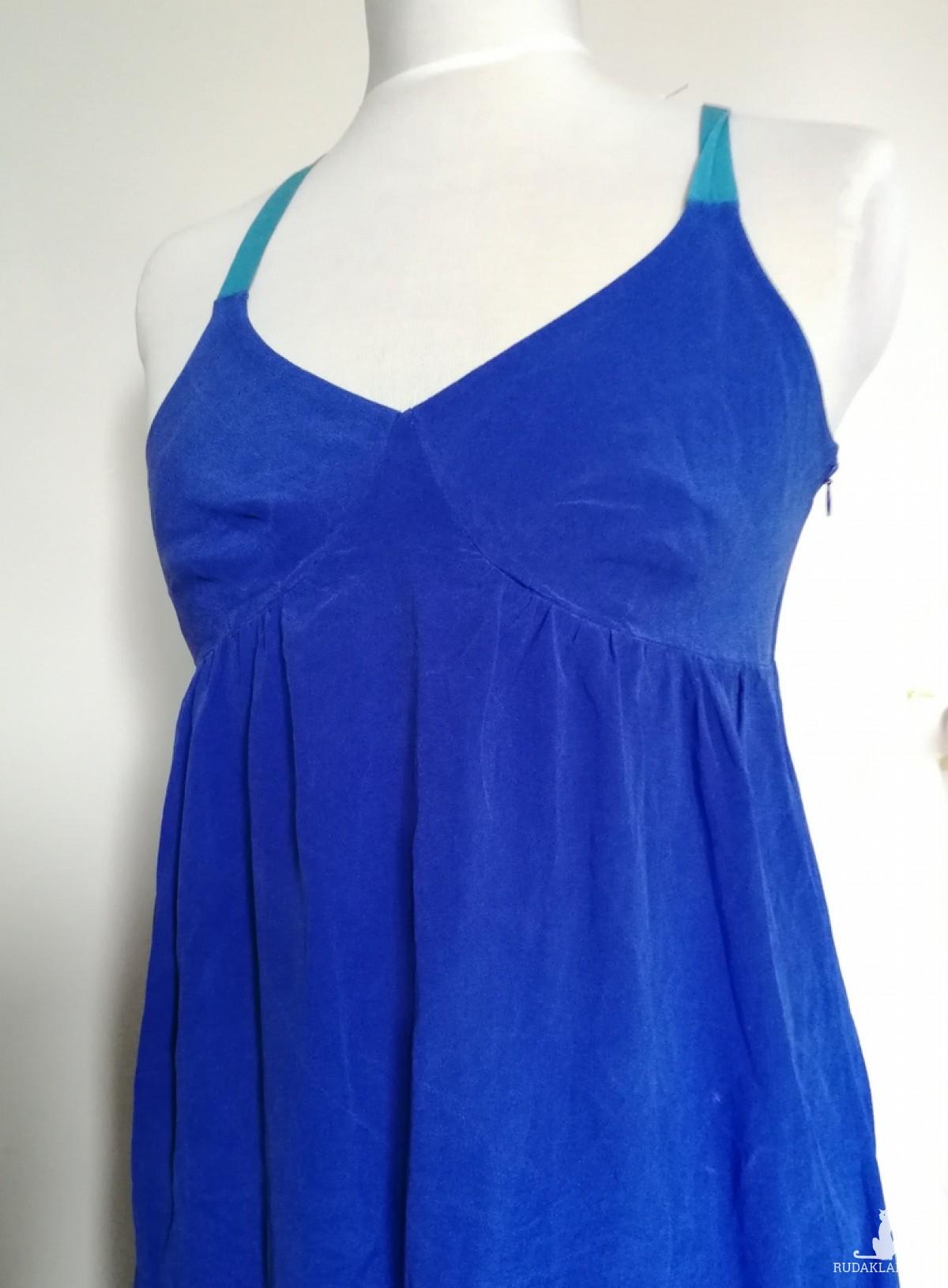 sukienka jedwabna firma monsoon turkusowo-zielona