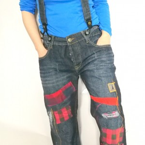 spodnie jeansy podszywane patchworkowo kolorowe boho denim handmade