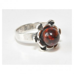 19 pierścionek vintage, naturalny bursztyn bałtycki,