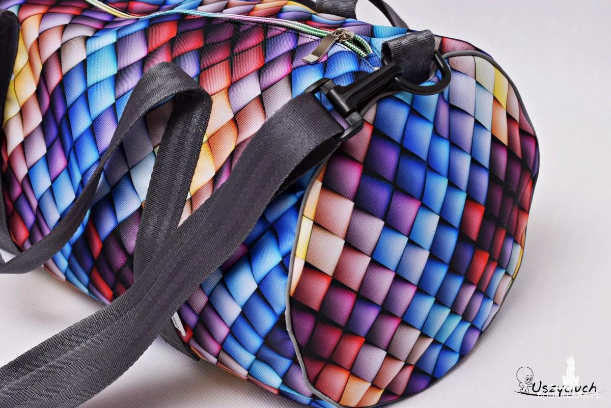 Torba podróżna wodoodporna podręczna, torba na basen siłownię, torba sportowa kolorowe łuski