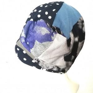 czapka patchworkowa wiosenna na podszewce grochy czaszki handmade