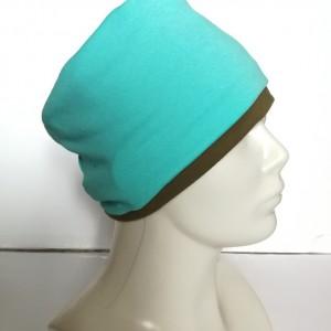opaska handmade unisex dzianina podwójna niebiesko zielona sportowa