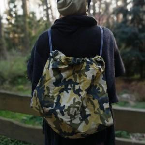 duży wojskowy plecak worek handmade w moro i monochrom