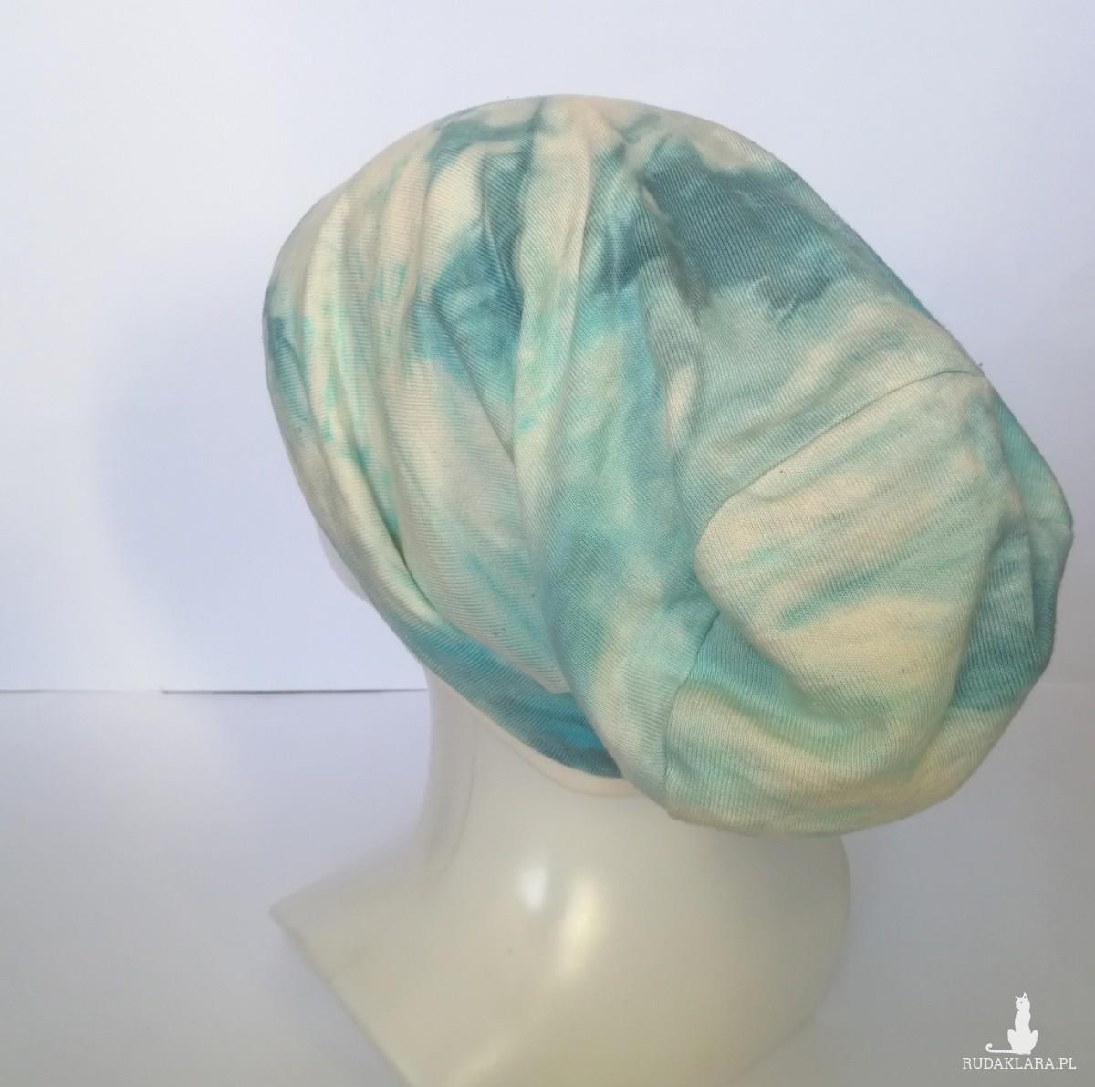 czapka damska męska unisex ręcznie farbowana wiosenna