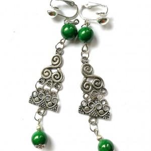klipsy etno boho lekkie zielone handmade