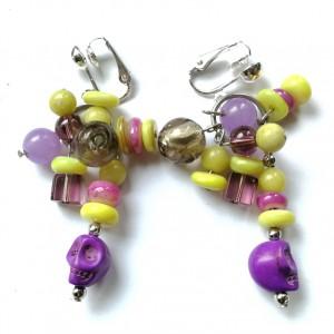 klipsy etno boho fioletowo zółte czaszki handmade