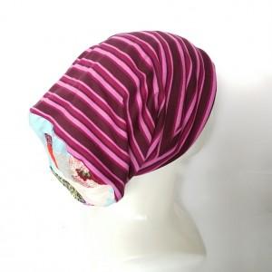 czapka damska sportowa w paski kolorowa wiosenna
