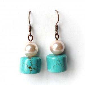 Kolczyki z perłami Majorka i howlitami