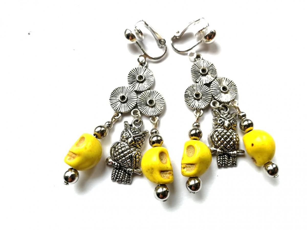 klipsy żółte z czaszkami bohemian
