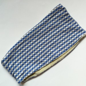 opaska damska sportowa dzianinowa w kratkę niebieską handmade