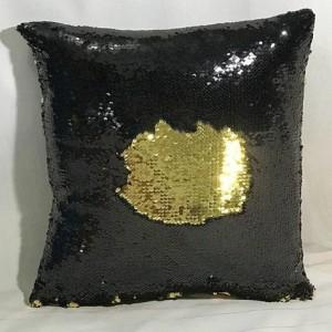 poszewka na poduszkę cekiny czarno-złote