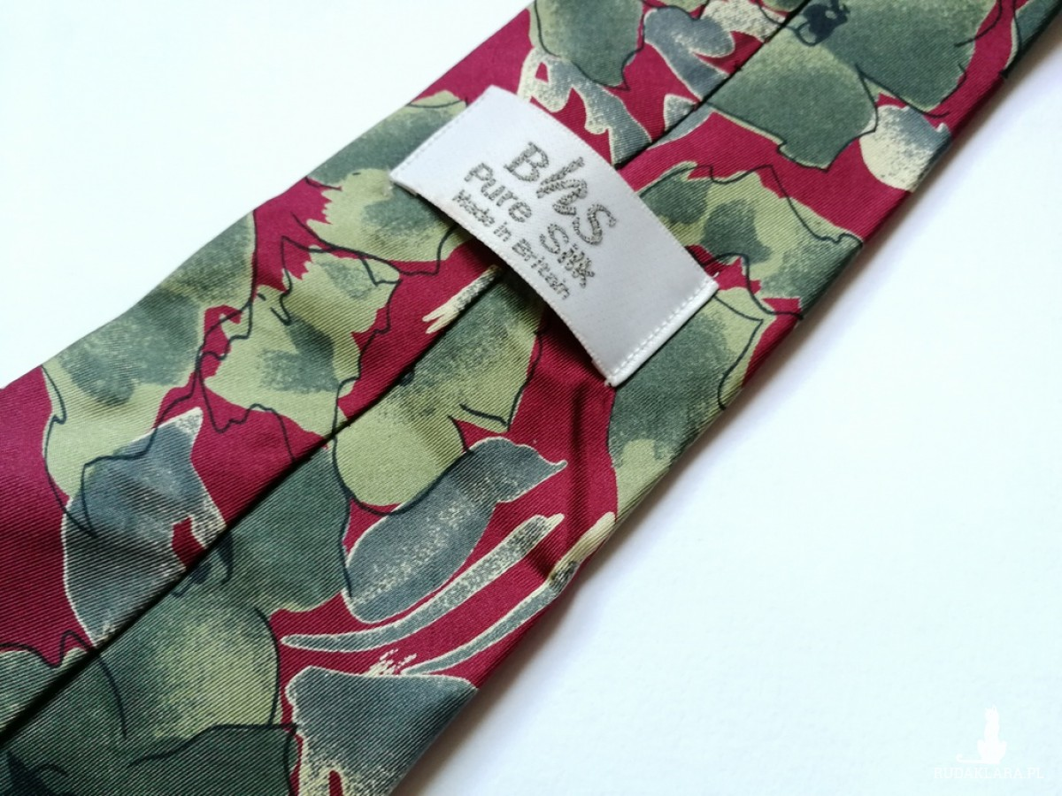 krawat vintage jedwabny w kolorze zielono-bordowym  firma  BHS