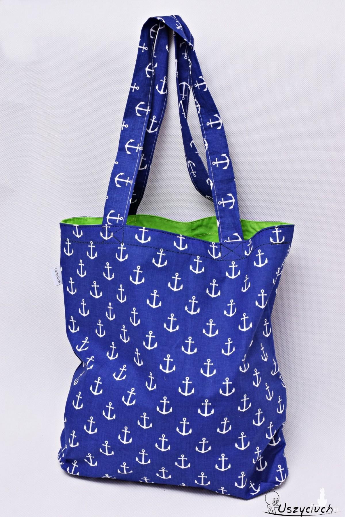 Torba na zakupy Shopperka kotwice niebieskie zielona podszewka