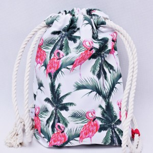 Workoplecak wodoodporny, worek plecak, torba na plecy, worek ze sznurami, plecak wodoodporny flamingi