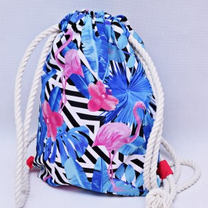 Workoplecak wodoodporny, worek plecak, torba na plecy, worek ze sznurami, plecak wodoodporny flamingi róż