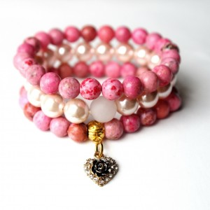 Komplet bransoletek z jaspisów i perły majorka