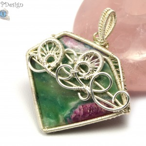 Rubin w Fuchsycie, Srebrny wisior z rubinem w fuchsycie, ręcznie wykonany, prezent dla niej, prezent dla mamy, prezent urodzinowy, biżuteria
