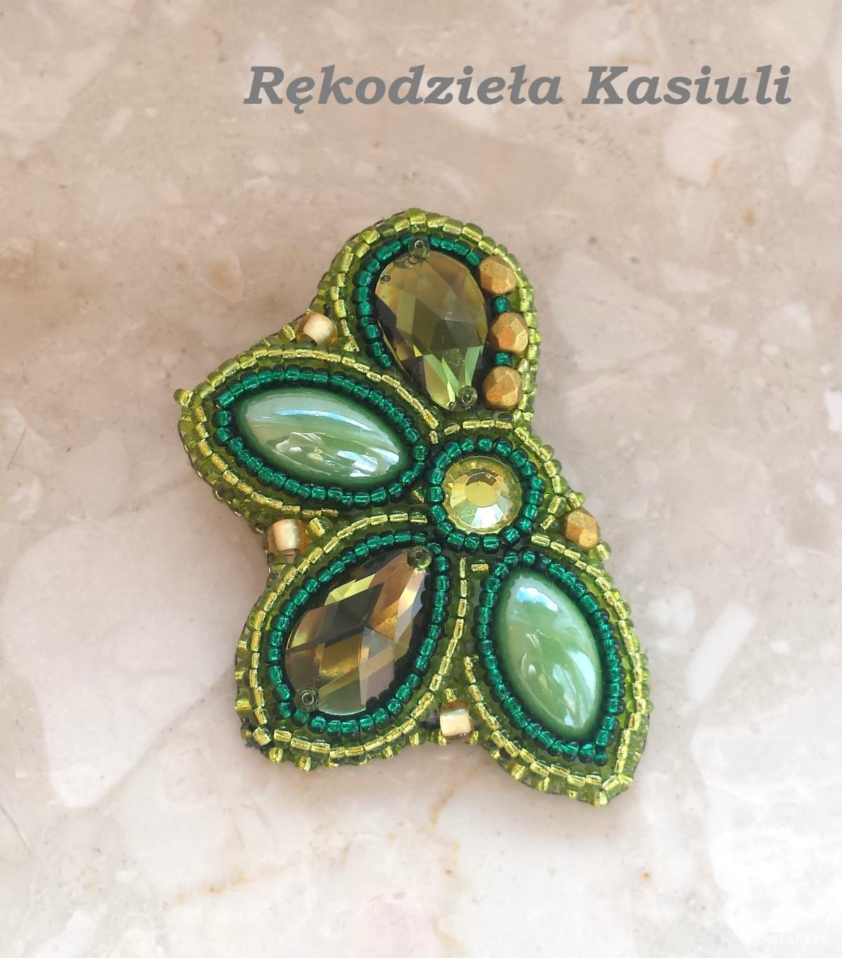Broszka haft koralikowy: Zielono mi