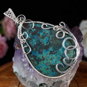 Azuryt, Srebrny wisior z azurytem wire wrapped, pomysł na prezent, prezent dla mamy, prezent dla kobiety