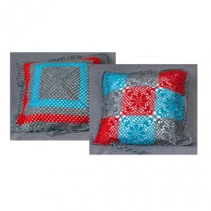 1 dekoracyjna, szydełkowa poszewka na poduszkę; kolorowa poduszka; dwustronna poduszka; szary, niebieski, czerwony;