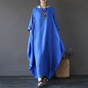 niebieska sukienka oversize bawełna XXL