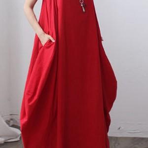 bawełniana czerwona sukienka oversize Xl