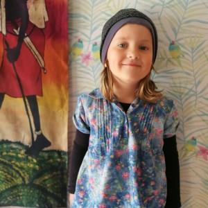 czapka dziecięca szara koronkowa dla dziewczynki