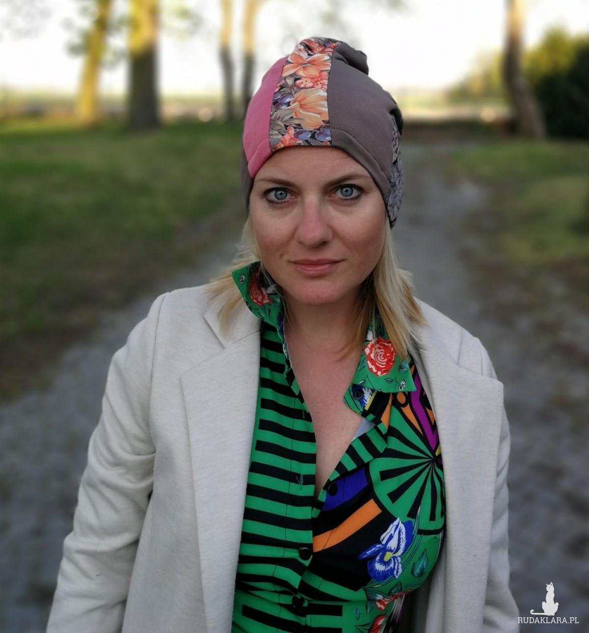 czapka szyta patchworkowo wiosenna damska