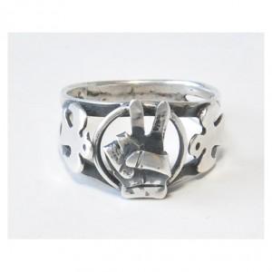 61 srebrny pierścionek vintage dla niego i dla niej; victoria i gołębie; efektowny, ciekawy :-)