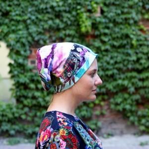 czapka damska patchworkowa kolorowa