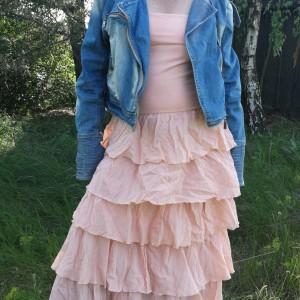 sukienka calzedonia sexy lato falbany łososiowa 38