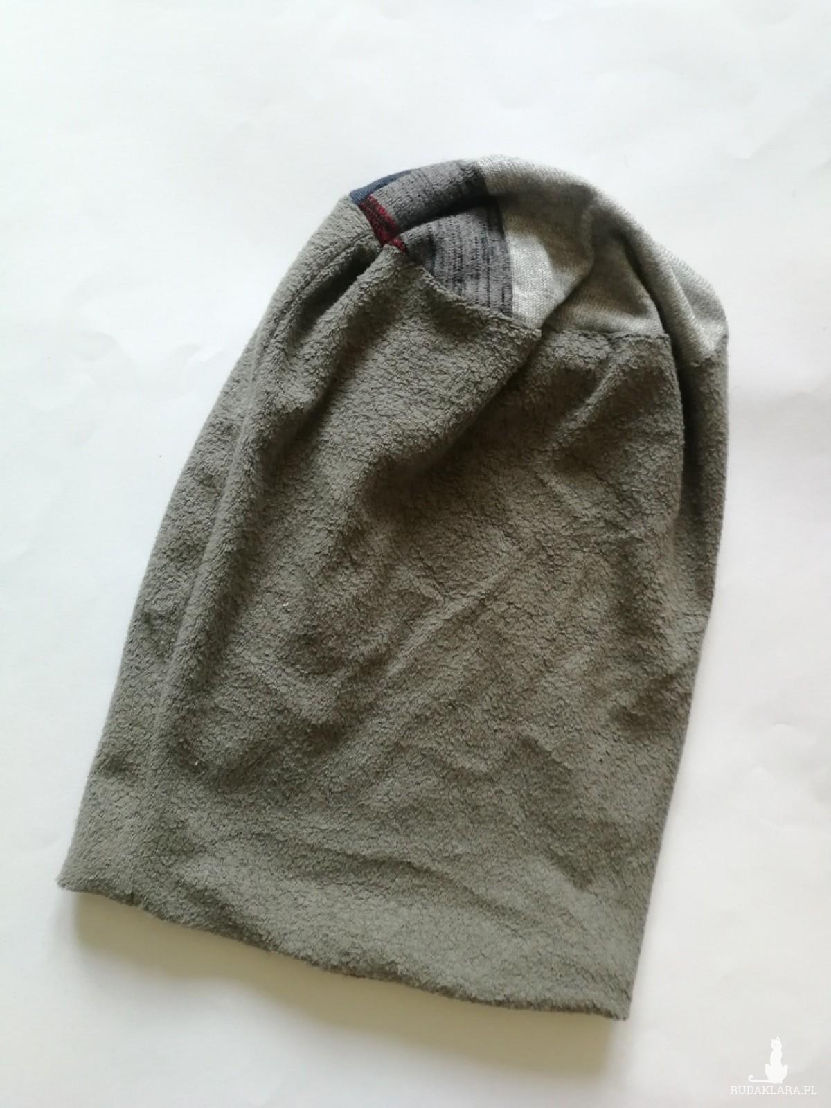 czapka szara smerfetka dzianiowa handmade