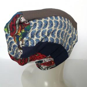 czapka boho kolorowa damska patchworkowa- żuczek który toczy kulkę zawsze ma pod górkę