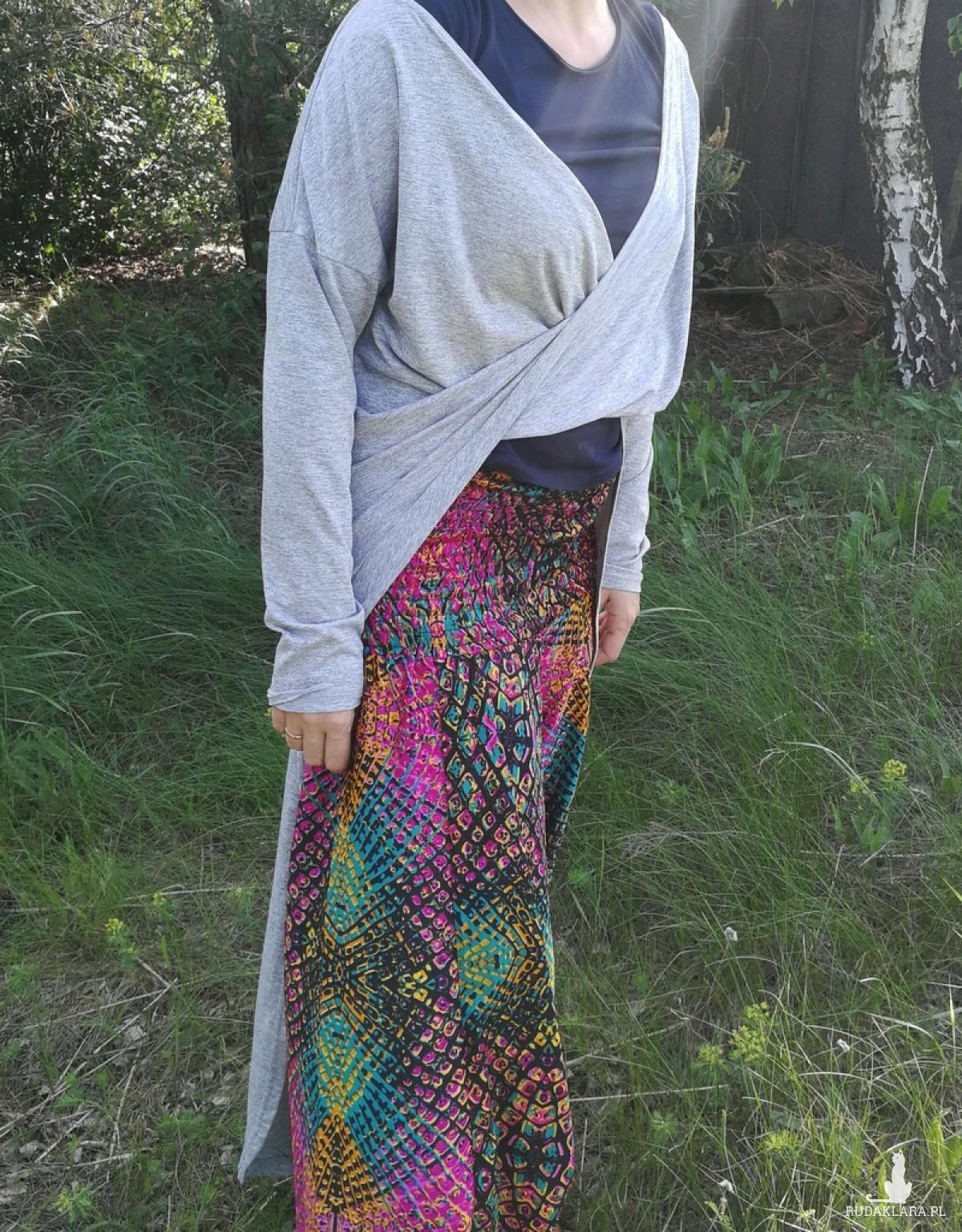 tunika szara dzianinowa długa na sukienkę nietoperzowa