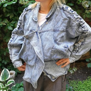 Kurtka jeansowa marmurkowa nietoperzowa lata 80-te rozmiar L