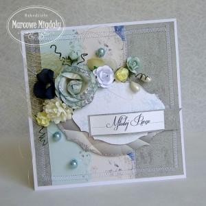 Ślubna kartka szaro-niebieska